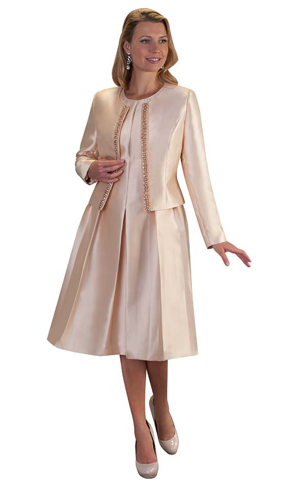 Chancele 9520-Champagne - Two Piece Dress & Jacket Set With Jewel Embellished Trim