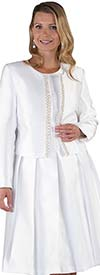 Chancele 9520-White - Two Piece Dress & Jacket Set With Jewel Embellished Trim