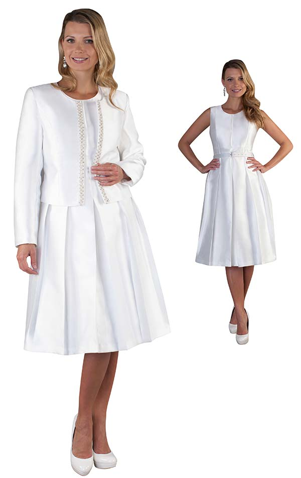 Chancele 9520-White - Two Piece Dress & Jacket Set With Jewel Embellished Trim
