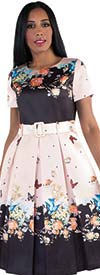 Chancele 9521 - Short Sleeve Pleated Dress In Nature Inspired Floral Print With Belt