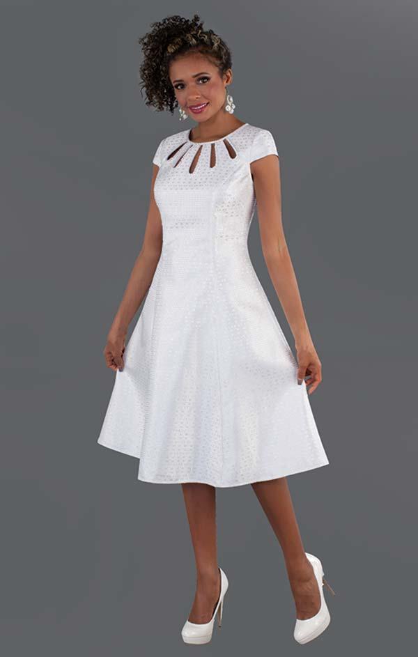 Chancele 9522 - Cap Sleeve Flared Dress With Jeweled Multi Keyhole Neckline In Brocade Fabric
