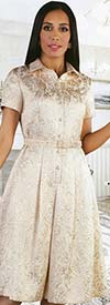 Chancele 9523 - Short Sleeve Pleated Dress With Brocade Pattern & Detachable Belt