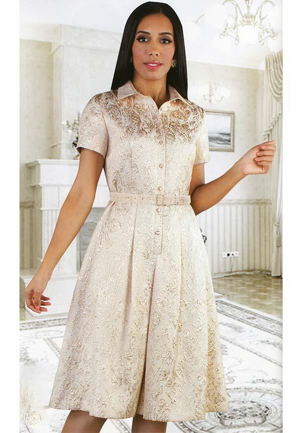 Chancele 9523 - Short Sleeve Pleated Dress With Brocade Pattern & Detachable Belt
