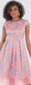 Chancele 9525 - Cap Sleeve Pleated Dress In Floral Print With Mesh Trim