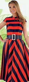 Chancele 9530-Orange - Cap Sleeve Peek-a-Boo Dress In Striped Print Design With Belt