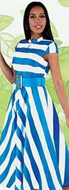 Chancele 9530-Turquoise - Cap Sleeve Peek-a-Boo Dress In Striped Print Design With Belt