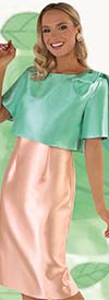 Chancele 9541-Aqua - Sleeveless Dress And Jacket Set With Shoulder Bow Accent