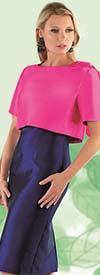 Chancele 9541-Fuchsia - Sleeveless Dress And Jacket Set With Shoulder Bow Accent