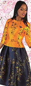 Chancele 9542 - Two Tone Floral Print Dress With Brooch And Belt