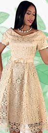 Chancele 9544-Champagne- Lace Dress With Bow Waistband And Over Shoulder Collar