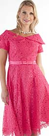 Chancele 9544-Fuchsia - Lace Dress With Bow Waistband And Over Shoulder Collar