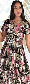 Chancele 9545 - One Piece Short Sleeve Vee Neckline Abstract Print Dress