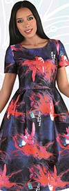 Chancele 9546 - One Piece Short Sleeve Print Dress