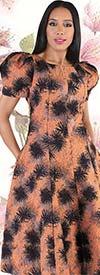 Chancele 9547 - Puff Sleeve Dress With Abstract Jacquard Print