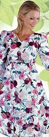 Chancele 9550 - Vee Neckline Burn Out Organza Floral Print Dress With Belt