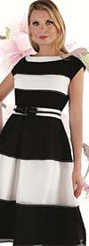 Chancele 9551 - Striped Design Cap Sleeve Dress With Pick Stitch Detail