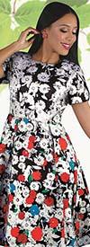 Chancele 9557 - Floral Pop Art Print Dress With Short Sleeves