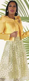 Chancele 9561 - Floral Burnout Sleeveless Dress With Portrait Collar Silk Look Jacket
