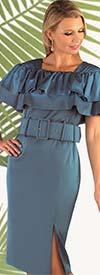 Chancele 9625 - Double Shoulder Ruffle Sheath Dress With Belt
