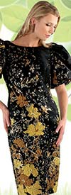 Chancele 9628 - Ruffle Puff Sleeve Dress In Abstract Floral Jacquard Design