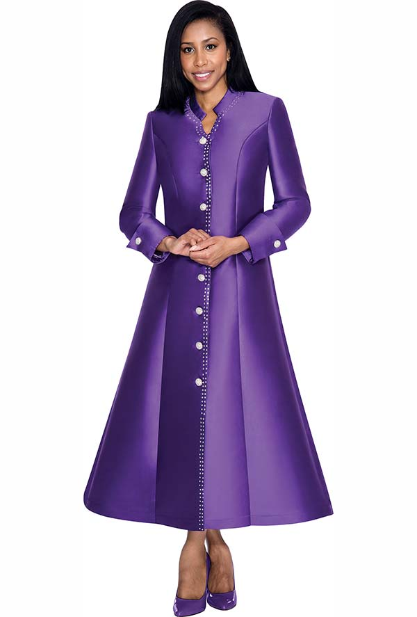 Nubiano Dresses DN5881-Purple - Flared Church Dress With Cuffed Sleeves