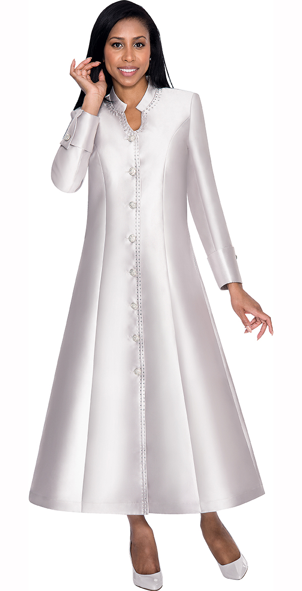 Nubiano Dresses DN5881-Silver - Flared Church Dress With Cuffed Sleeves