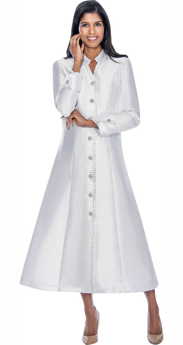 Nubiano Dresses DN5881-White - Flared Church Dress With Cuffed Sleeves