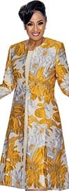 DCC - DCC1322-Gold - A-line Dress With Floral Print Design