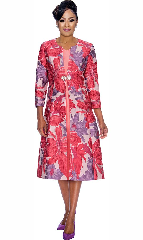 DCC - DCC1322-Violet - A-line Dress With Floral Print Design