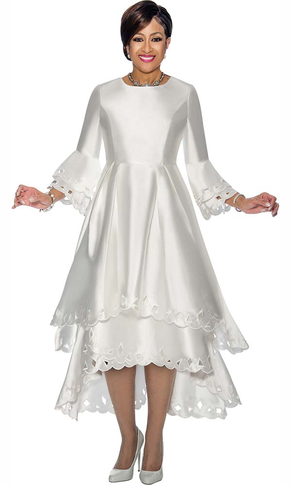 DCC - DCC1431-White - Layered Design Bell Sleeve Dress With Cut-Out Trim Design