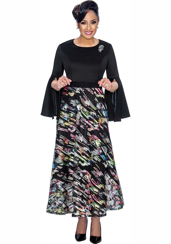 DCC - DCC1801 Printed Dress With Split Sleeve Design
