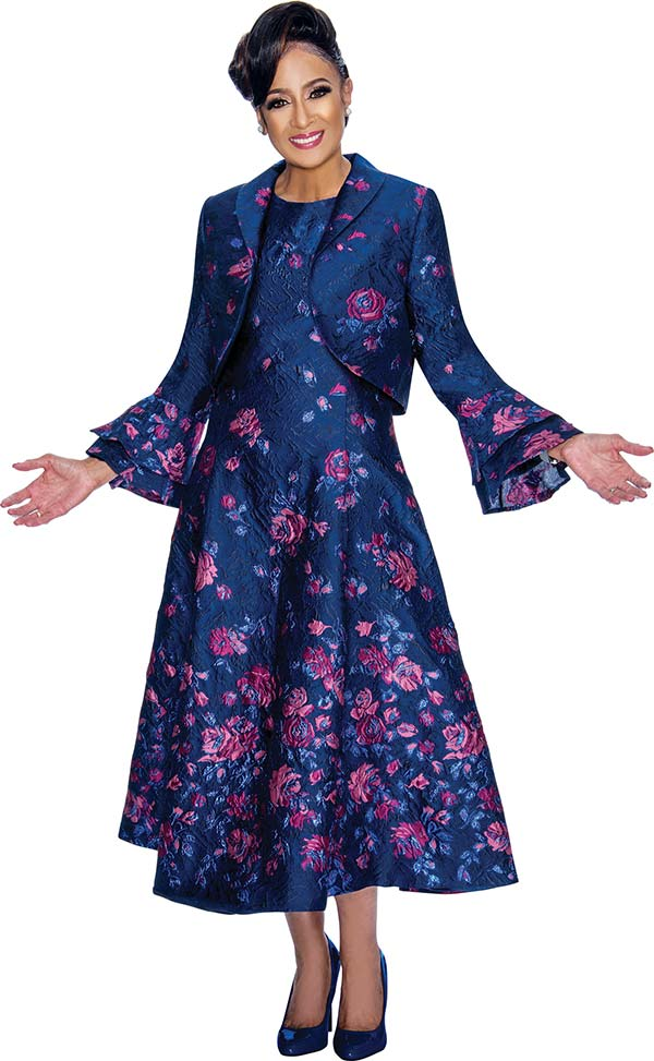 DCC - DCC1812 Floral Printed Dress With Double Layer Bell Sleeve Bolero Jacket