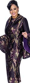 DCC - DCC1822 Printed Dress With Wide Bell Sleeve Bolero Jacket