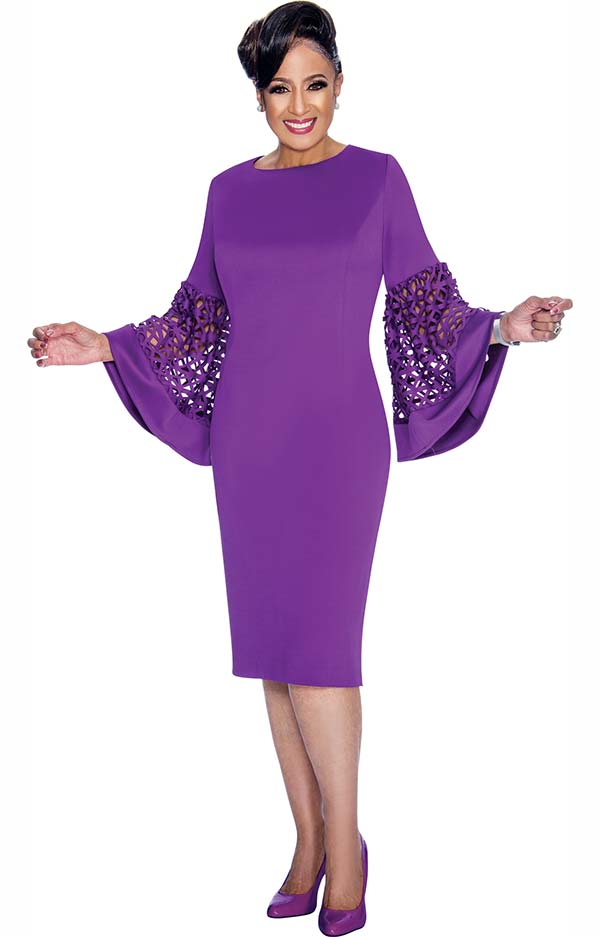 DCC - DCC1861 Ladies Dress With Wide Cut-Out Designed Bell Cuff Sleeves