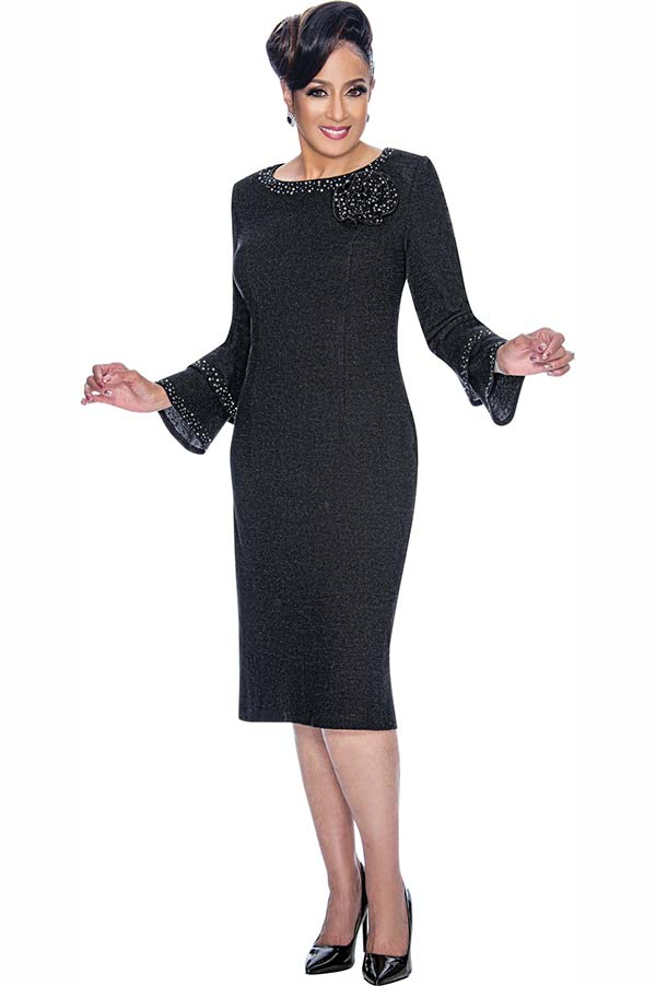 DCC - DCC1871 Embellished Ladies Knit Dress With Small Double Bell Cuff Sleeves