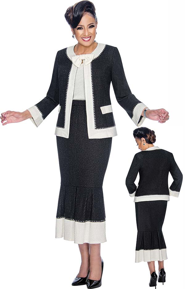 DCC - DCC1883 Knit Flounce Skirt Church Suit With Removable Bow