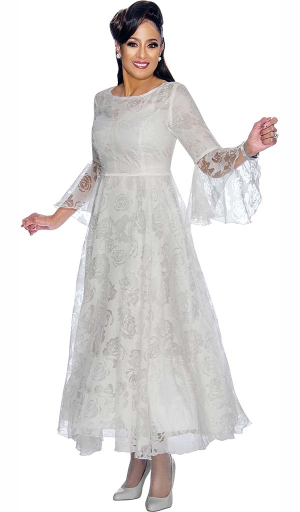DCC - DCC1901-White - Lace Dress With Floral Pattern Design