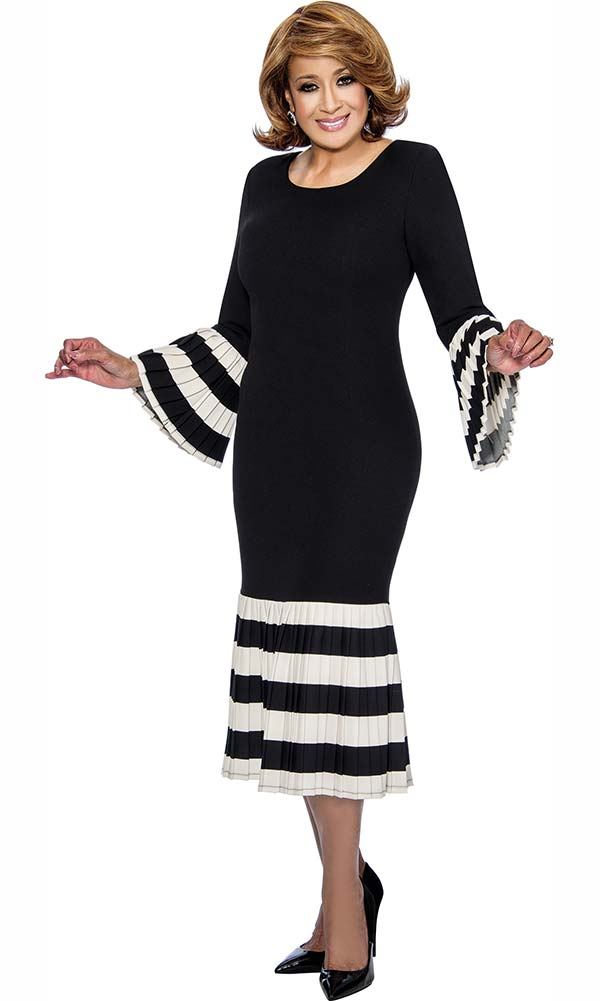 DCC - DCC821-Black - Striped Flounce Hemline Dress With Pleated Bell Sleeves