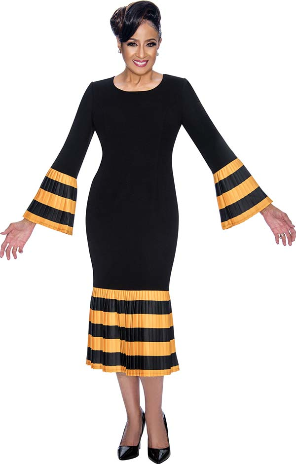 DCC - DCC821-Gold - Striped Flounce Hemline Dress With Pleated Bell Sleeves