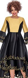 DCC - DCC1431-BlackGold Layered Bell Sleeve Pleated Dress With Cut-Out Design