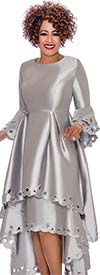 DCC - DCC1431-Silver Layered Bell Sleeve Pleated Dress With Cut-Out Design