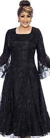 DCC - DCC2011-Black Bell Sleeve Pleated Dress With Lace Organza Layer
