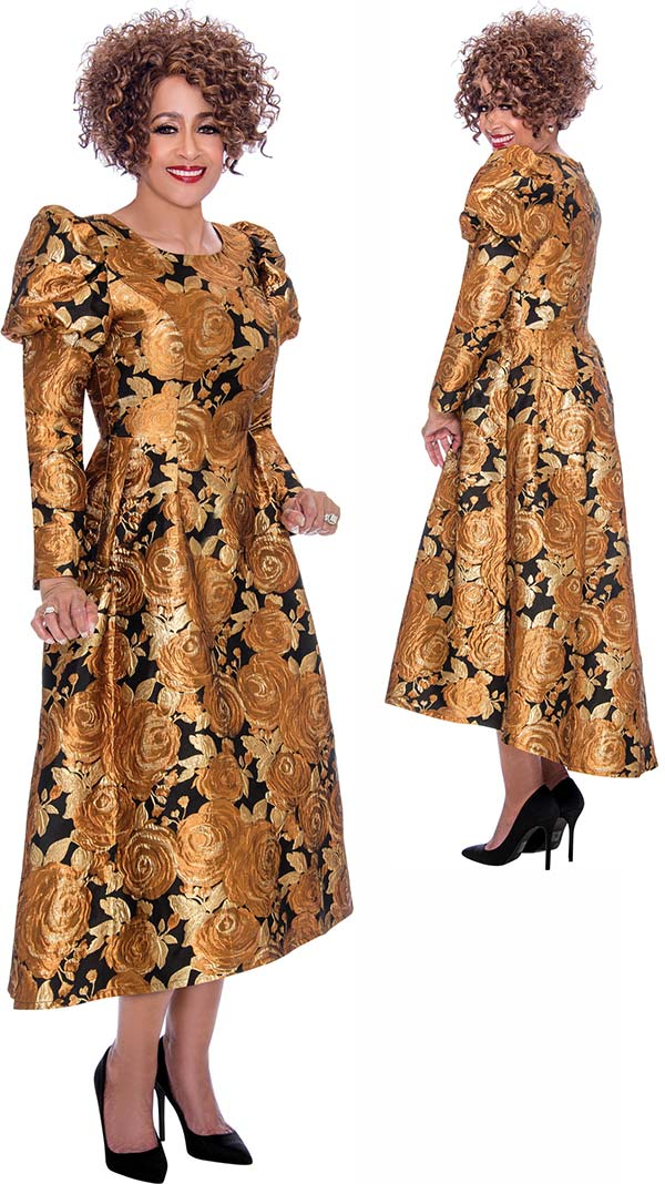 DCC - DCC2161 Pleated Dress With Floral Pattern And Juliet Sleeve Design