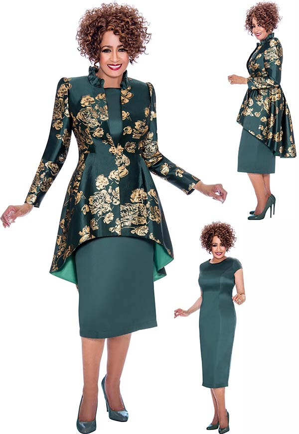 DCC - DCC2242 Short Sleeve Dress With Long Sleeve Floral Pattern Peplum Jacket