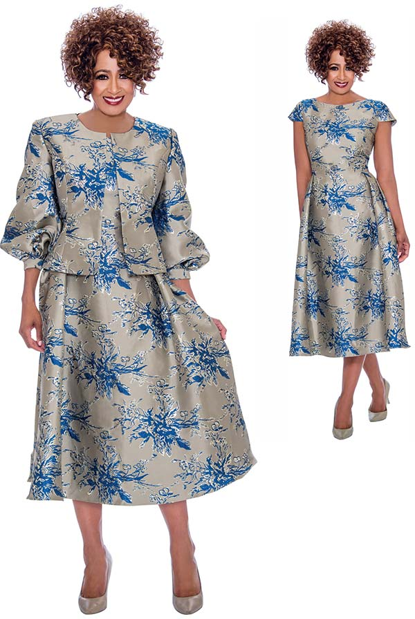 DCC - DCC2252 Pleated Cap Sleeve Dress With Floral Pattern And Bishop Sleeve Jacket