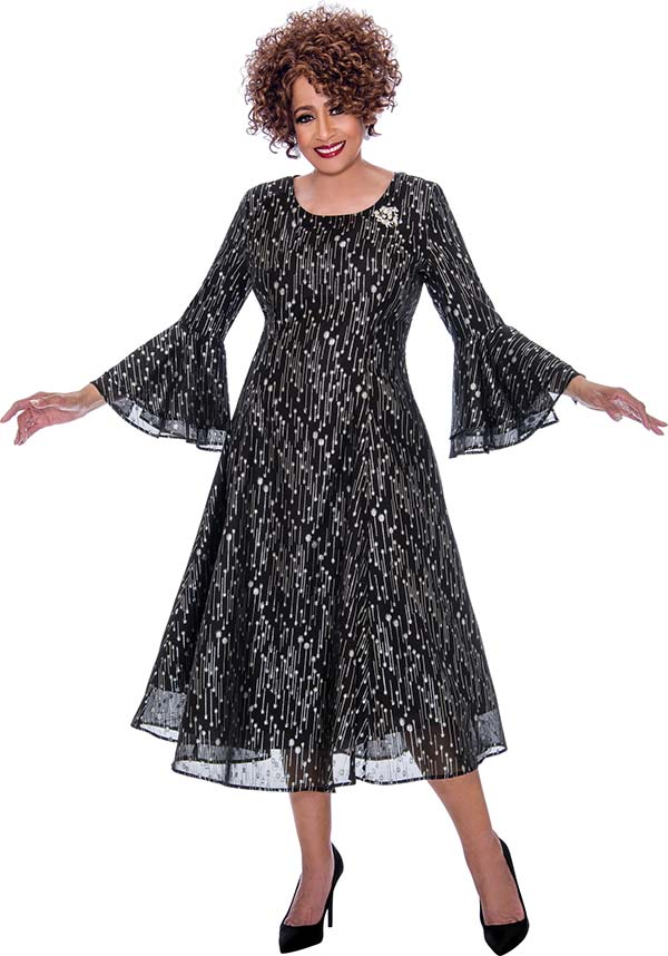 DCC - DCC2261 Layered Bell Cuff Sleeve Flared Dress