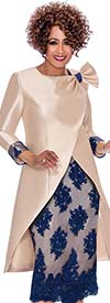 DCC - DCC2292 Skirt Suit With Floral Applique And Long Wrap Style Jacket