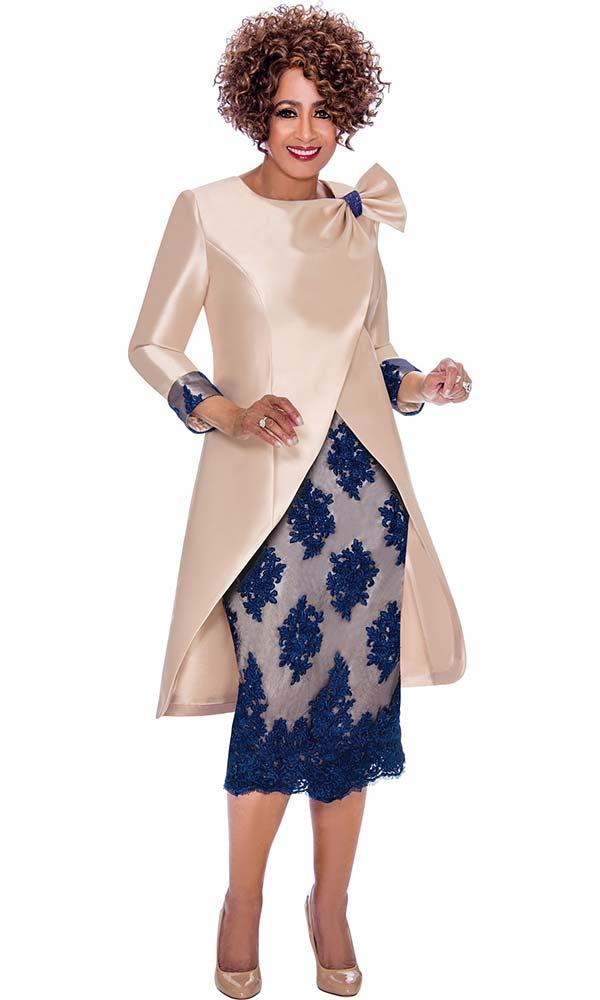 DCC - DCC2292 Skirt Suit With Floral Applique And Long Wrap Style Jacket