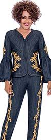 DCC - DCC2322 Womens Pant Suit With Gold Pattern Accents & Puff Sleeves