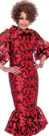 DCC - DCC2351-Red Puff Sleeve Flounce Hem Dress With Roll Collar
